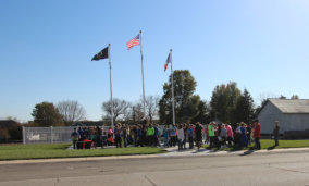 Students Visiting the Veterans Memorial